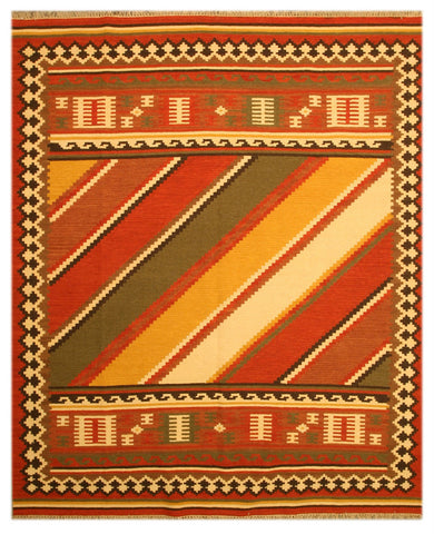 Handmade Wool Red Transitional Tribal Keysari Kilim Rug