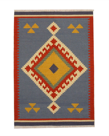 Handmade Wool Blue Traditional Geometric Keysari Kilim Rug