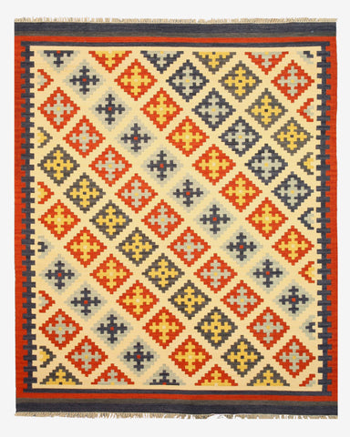 Handmade Wool Ivory Transitional Geometric Keysari Kilim Rug
