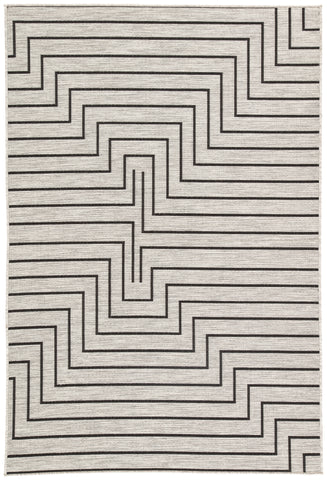 Nikki Chu by Jaipur Living Xantho Indoor/ Outdoor Geometric Silver/ Black Area Rug (10'X14')