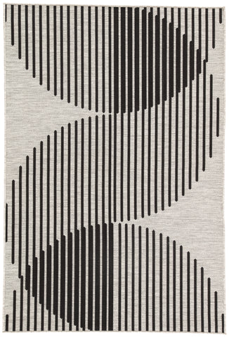 "Nikki Chu by Jaipur Living Tangra Indoor/ Outdoor Geometric Silver/ Black Area Rug (7'11""X10')"