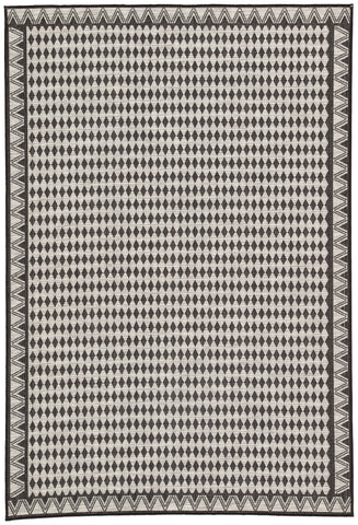 "Nikki Chu by Jaipur Living Melon Indoor/ Outdoor Geometric Silver/ Black Area Rug (7'11""X10')"
