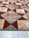 Handmade Afghan Wool Red Transitional Geometric Turkish Knot Rug