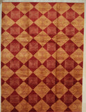 Handmade Afghan Wool Red Transitional All Over Turkish Knot Rug