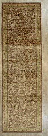 Handmade Afghan Wool Beige Trasitional All Over Turkish Knot Rug