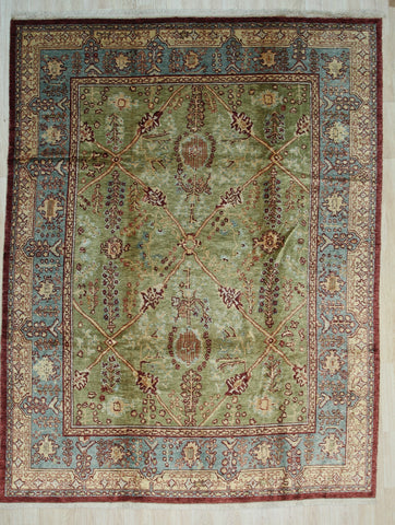 Handmade Mohair Green Trasitional All Over Angora Oushak Rug