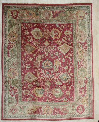 Handmade Mohair Red Trasitional All Over Angora Oushak Rug