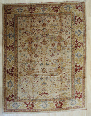 Handmade Mohair Beige Trasitional All Over Angora Oushak Rug