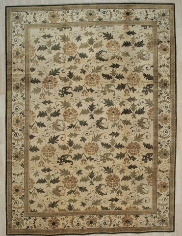 Handmade Wool Ivory Transitional All Over Ningxia  Rug
