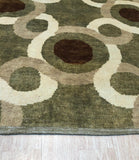 Handmade Mohair Green Transitional Geometric Ningxia  Rug