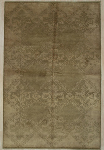 Handmade Wool Beige Transitional All Over Ningxia  Rug