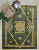 Handmade Mohair Green Traditional Medallion Ningxia  Rug