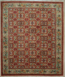 Handwoven Wool Red transitional  Floral Spanish Style Rug