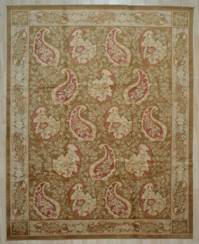 Handwoven Wool Beige transitional  Floral Spanish Style Rug
