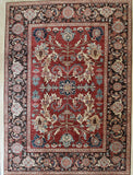 Handknotted Wool Red Traditional Floral Heriz Weave  Rug
