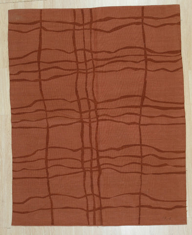 Handwoven Wool Rust Contemporary Modern Modern Flat Weave Rug