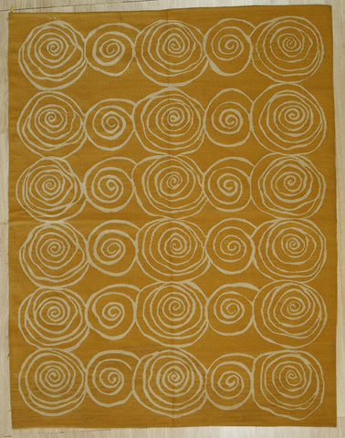 Gold Contemporary Modern Flat Weave Rug, 9' x 12'