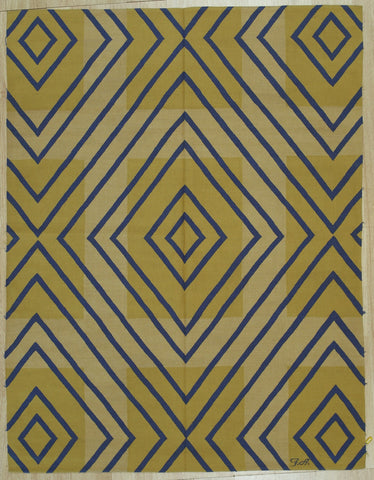 Yellow Contemporary Modern Flat Weave Rug, 6' x 8'