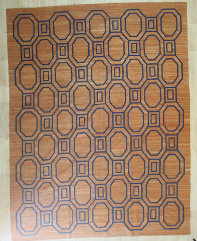 Brown Contemporary Modern Flat Weave Rug, 9' x 11'