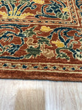 Handwoven Wool Green transitional  Floral Spanish Style Rug