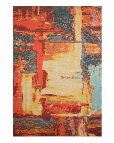 Red Distressed Bohemian Moderno Art Rug
