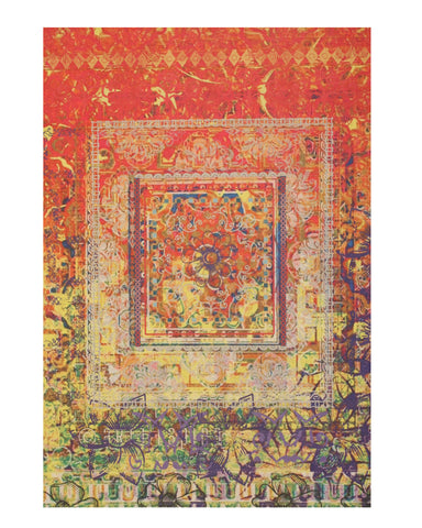 Red Distressed Bohemian Moderno Rug