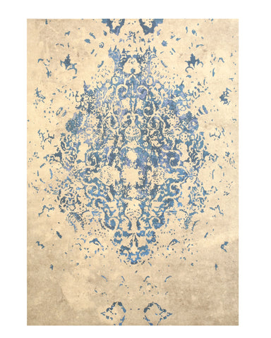 Blue Distressed Bohemian Moderno Medallion Rug