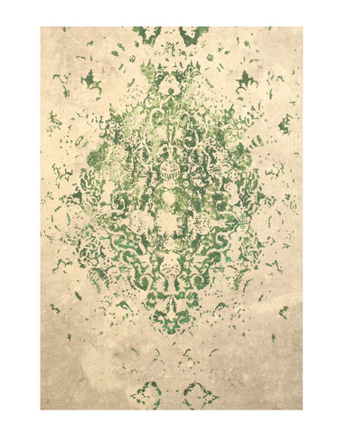 Green Distressed Bohemian Moderno Medallion Rug