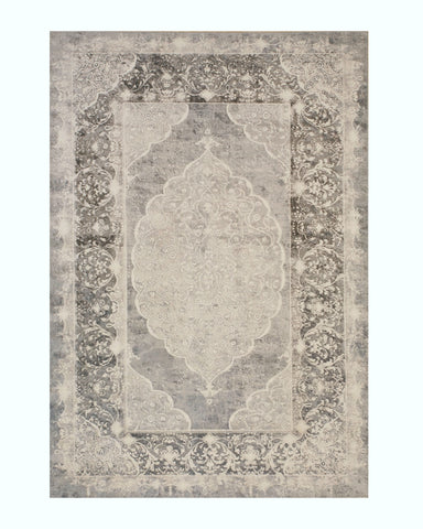 Gray Distressed Bohemian Moderno Medallion Rug