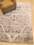 Ivory Traditional Distressed Bohemian Isabella Medallion Rug