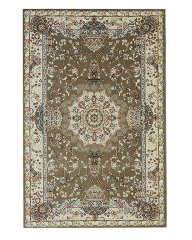 Mocha Traditional Tabriz Medallion Rug