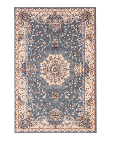Aqua Traditional Tabriz Medallion Rug