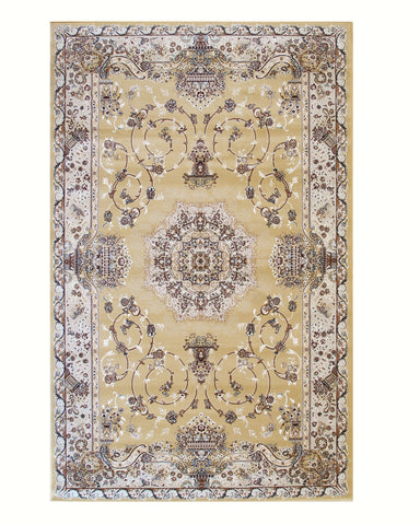 Gold Traditional Oriental Tabriz Rug