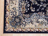 Blue Traditional Tabriz Medallion Rug