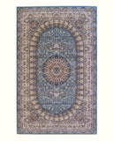 Blue Traditional Oriental Tabriz Rug