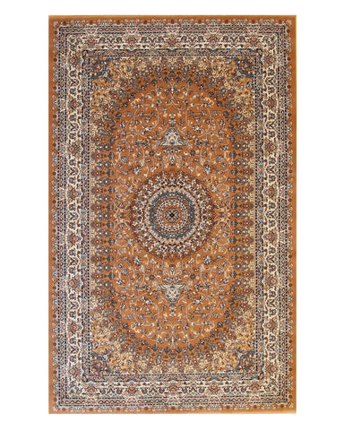 Rust Traditional Oriental Tabriz Rug