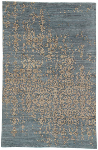 Jaipur Living Scroll Hand-Knotted Damask Dark Blue/ Tan Area Rug (2'X3')