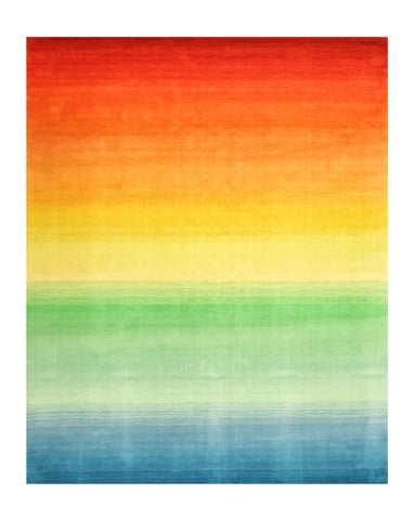 Hand-tufted Wool Contemporary Stripe Rainbow Rug