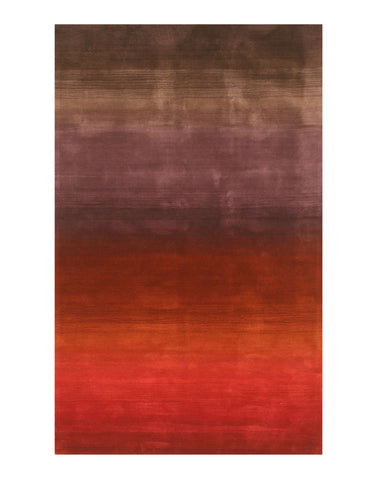 Handmade Wool Red Contemporary Stripe Horizon Rug