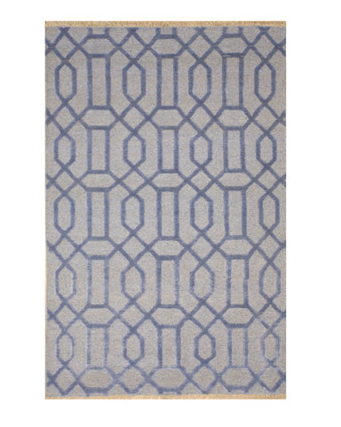 Hand-knotted Wool & Viscose Blue Transitional Geometric Links Rug