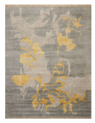 Hand-knotted Wool & Viscose Gray Contemporary Abstract Art Rug