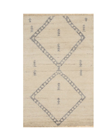 Hand-knotted Wool Ivory Transitional Trellis Moroccan Rug