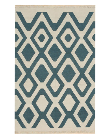Handmade Polyester Ivory Transitional Geometric Indoor/Outdoor Kilim Rug
