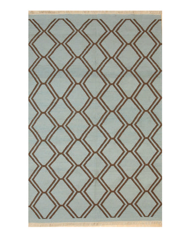 Handmade Polyester Blue Transitional Geometric Indoor/Outdoor Kilim Rug