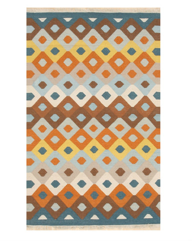 Handmade Polyester Multicolored Transitional Geometric Indoor/Outdoor Kilim Rug
