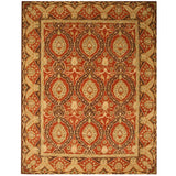 EORC IE31RD Hand Tufted Wool Twisted Rust Khyber Rug, 4' x 6', Red