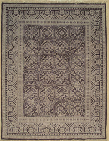Handknotted Wool PURPLE Traditional All Over Khotan Weave  Rug