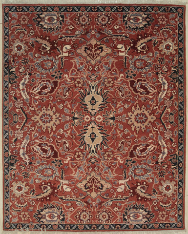 Handknotted Wool RUST Traditional All Over Sultanabad Rug