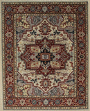 Handknotted Wool IVORY Traditional Medallion Heriz Weave  Rug