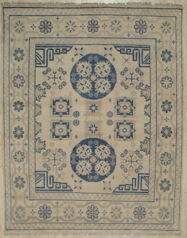 Handknotted Wool BEIGE Traditional Floral Khotan Weave  Rug
